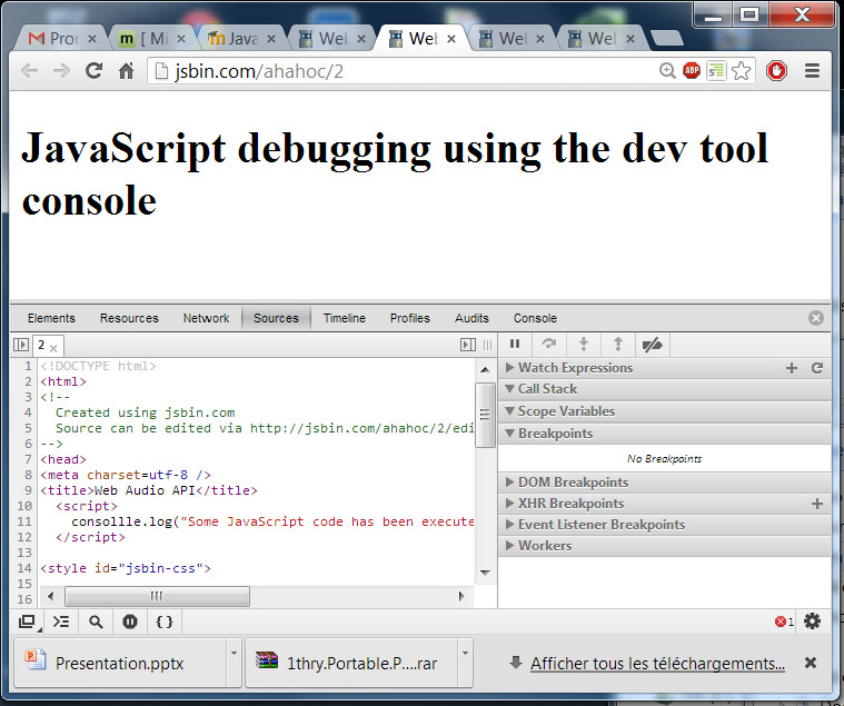 View of the JavaScript console